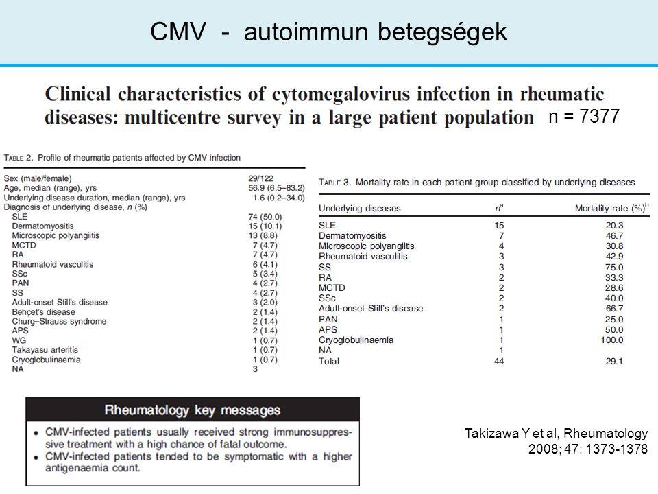 Takizawa Y et al, Rheumatology 2008; 47: 1373-1378 CMV - autoimmun betegségek n = 7377