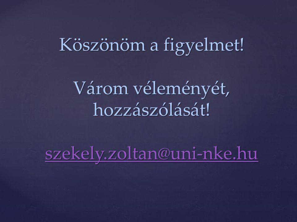 Köszönöm a figyelmet! Várom véleményét, hozzászólását! szekely.zoltan@uni-nke.hu szekely.zoltan@uni-nke.hu