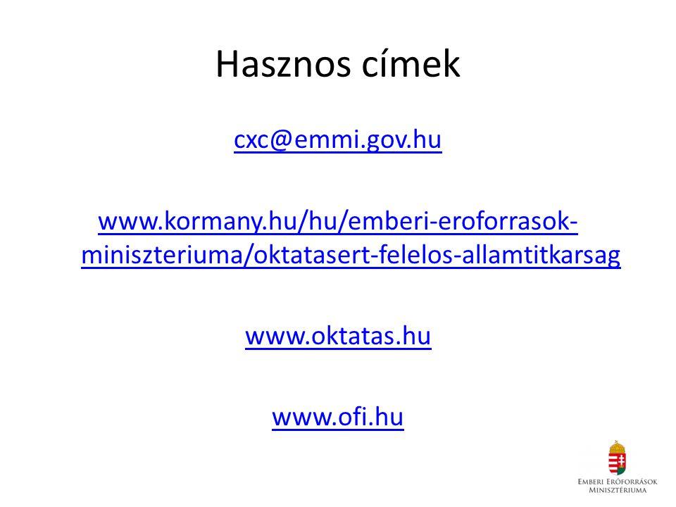 Hasznos címek cxc@emmi.gov.hu www.kormany.hu/hu/emberi-eroforrasok- miniszteriuma/oktatasert-felelos-allamtitkarsag www.oktatas.hu www.ofi.hu