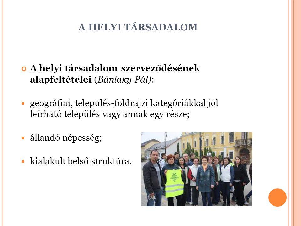 A HELYI TÁRSADALOM A helyi társadalom szerveződésének alapfeltételei (Bánlaky Pál): geográfiai, település-földrajzi kategóriákkal jól leírható települ