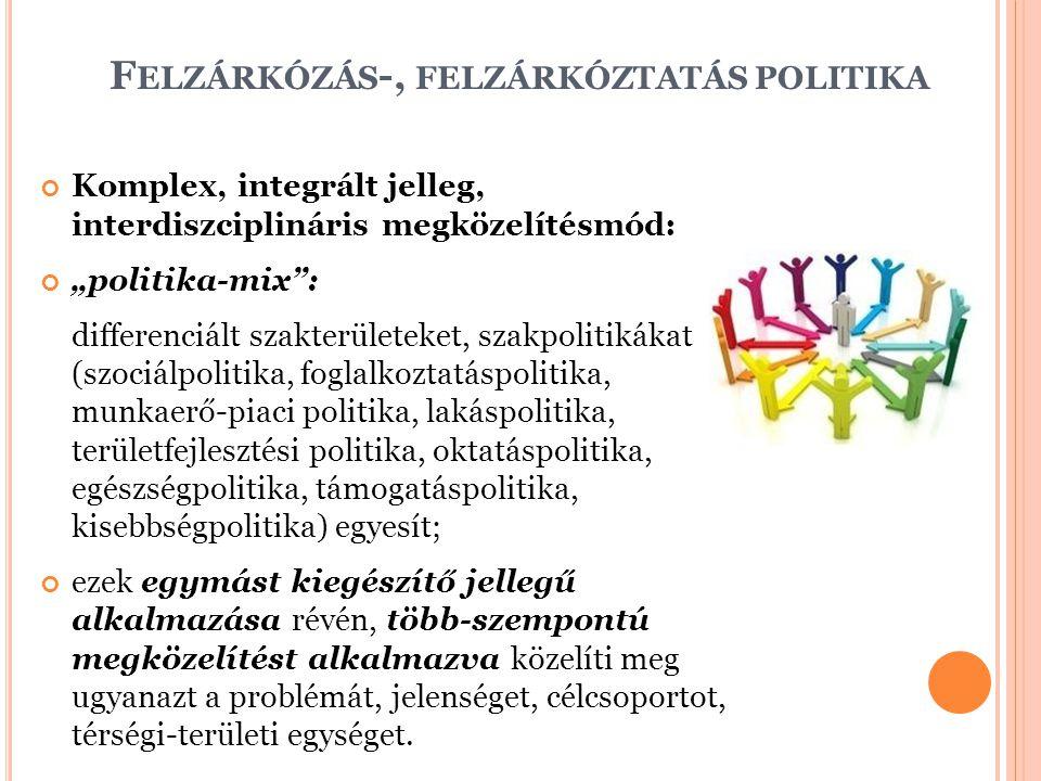 """F ELZÁRKÓZÁS -, FELZÁRKÓZTATÁS POLITIKA Komplex, integrált jelleg, interdiszciplináris megközelítésmód: """"politika-mix"""": differenciált szakterületeket,"""