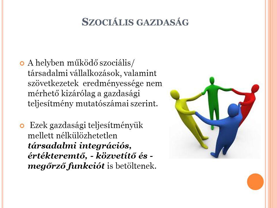S ZOCIÁLIS GAZDASÁG A helyben működő szociális/ társadalmi vállalkozások, valamint szövetkezetek eredményessége nem mérhető kizárólag a gazdasági telj