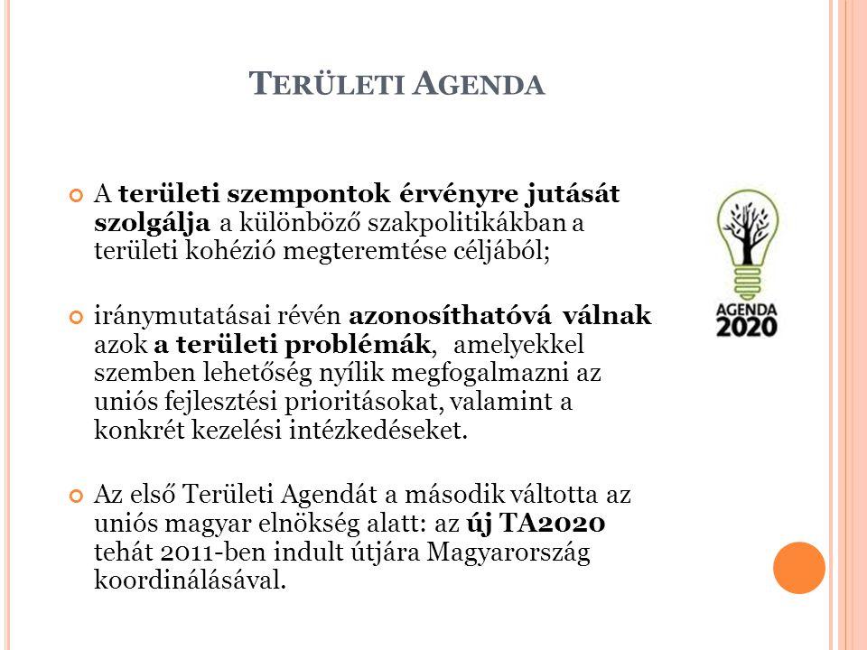 T ERÜLETI A GENDA A területi szempontok érvényre jutását szolgálja a különböző szakpolitikákban a területi kohézió megteremtése céljából; iránymutatás
