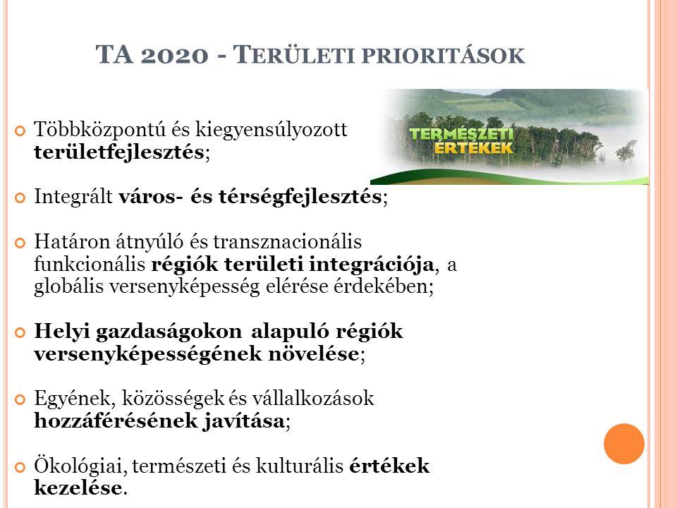 TA 2020 - T ERÜLETI PRIORITÁSOK Többközpontú és kiegyensúlyozott területfejlesztés; Integrált város- és térségfejlesztés; Határon átnyúló és transznac