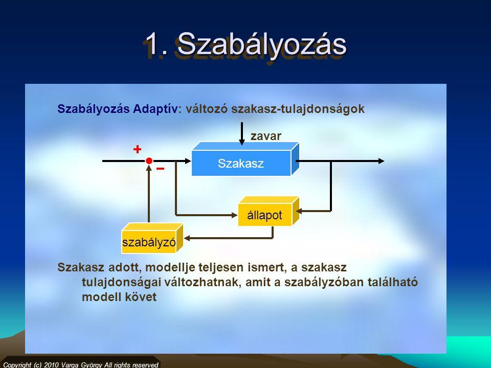 1. Szabályozás Szabályozás Adaptív: változó szakasz-tulajdonságok Copyright (c) 2010 Varga György All rights reserved Szakasz állapot Szakasz adott, m