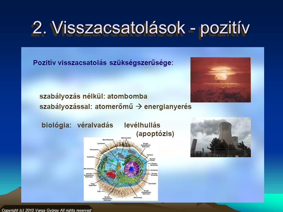 2. Visszacsatolások - pozitív Copyright (c) 2010 Varga György All rights reserved Pozitív visszacsatolás szükségszerűsége: szabályozás nélkül: atombom
