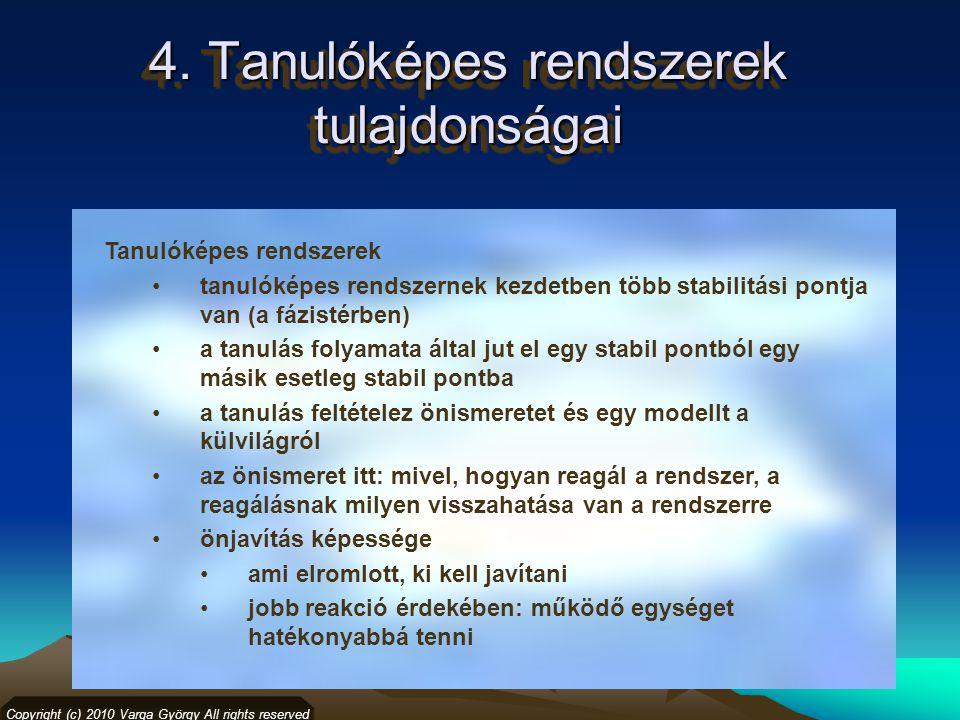 4. Tanulóképes rendszerek tulajdonságai Copyright (c) 2010 Varga György All rights reserved Tanulóképes rendszerek tanulóképes rendszernek kezdetben t