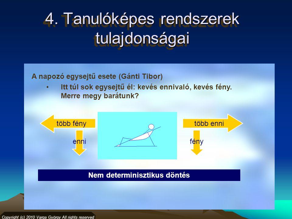 4. Tanulóképes rendszerek tulajdonságai Copyright (c) 2010 Varga György All rights reserved Nem determinisztikus döntés ennifény több fénytöbb enni A