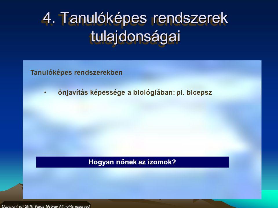 4. Tanulóképes rendszerek tulajdonságai Copyright (c) 2010 Varga György All rights reserved Tanulóképes rendszerekben önjavítás képessége a biológiába