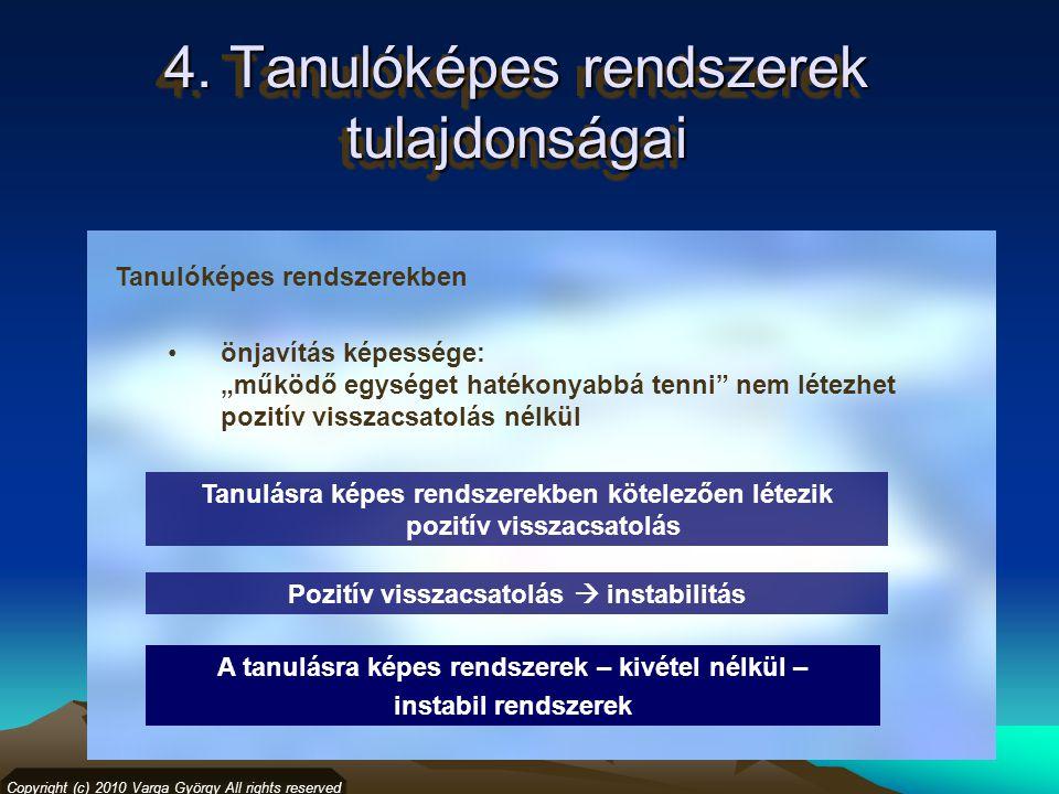 """4. Tanulóképes rendszerek tulajdonságai Copyright (c) 2010 Varga György All rights reserved Tanulóképes rendszerekben önjavítás képessége: """"működő egy"""