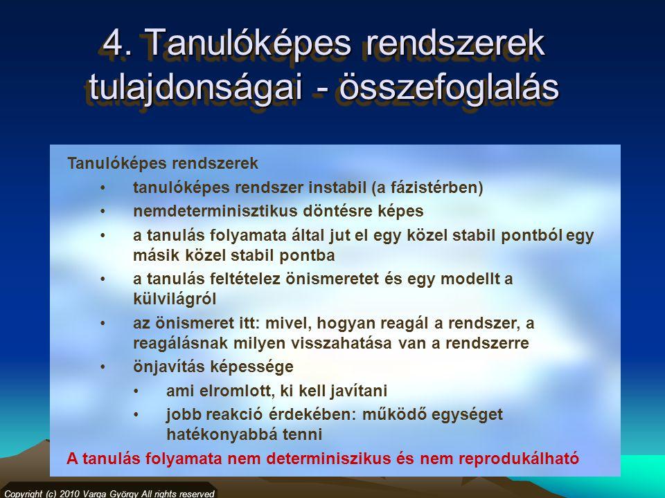 4. Tanulóképes rendszerek tulajdonságai - összefoglalás Copyright (c) 2010 Varga György All rights reserved Tanulóképes rendszerek tanulóképes rendsze