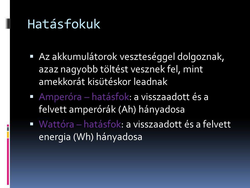 Hatásfokuk  Az akkumulátorok veszteséggel dolgoznak, azaz nagyobb töltést vesznek fel, mint amekkorát kisütéskor leadnak  Amperóra – hatásfok: a visszaadott és a felvett amperórák (Ah) hányadosa  Wattóra – hatásfok: a visszaadott és a felvett energia (Wh) hányadosa