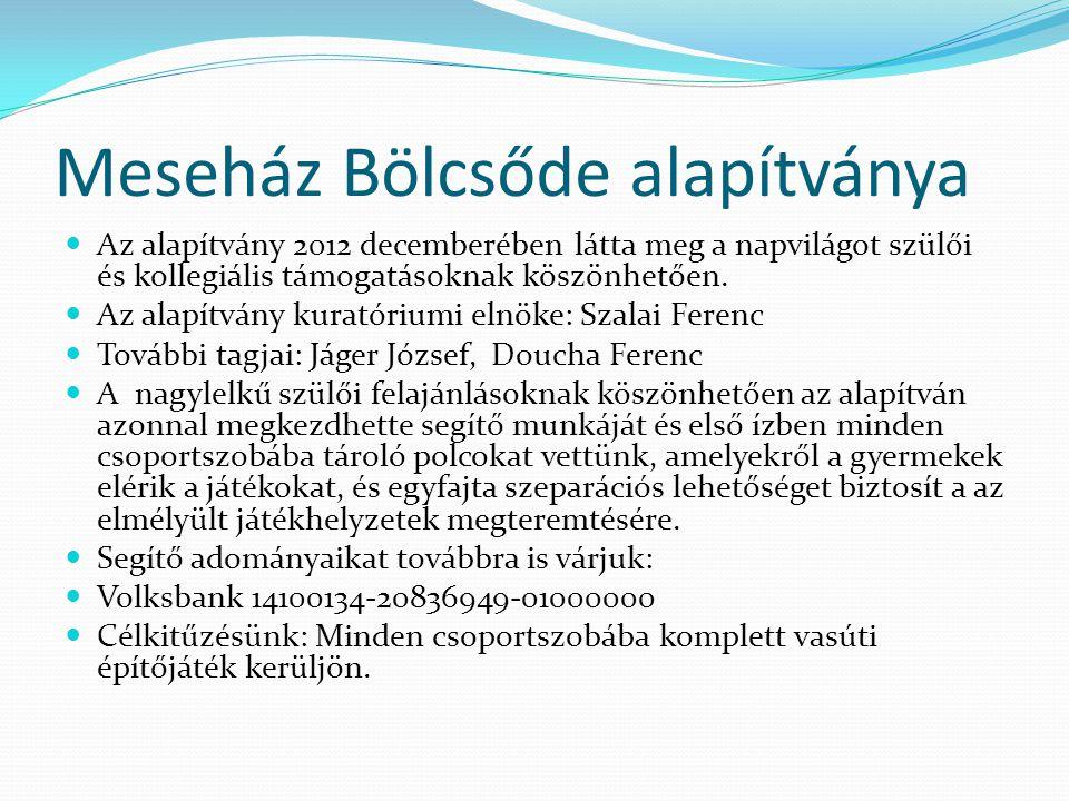 Meseház Bölcsőde alapítványa Az alapítvány 2012 decemberében látta meg a napvilágot szülői és kollegiális támogatásoknak köszönhetően.