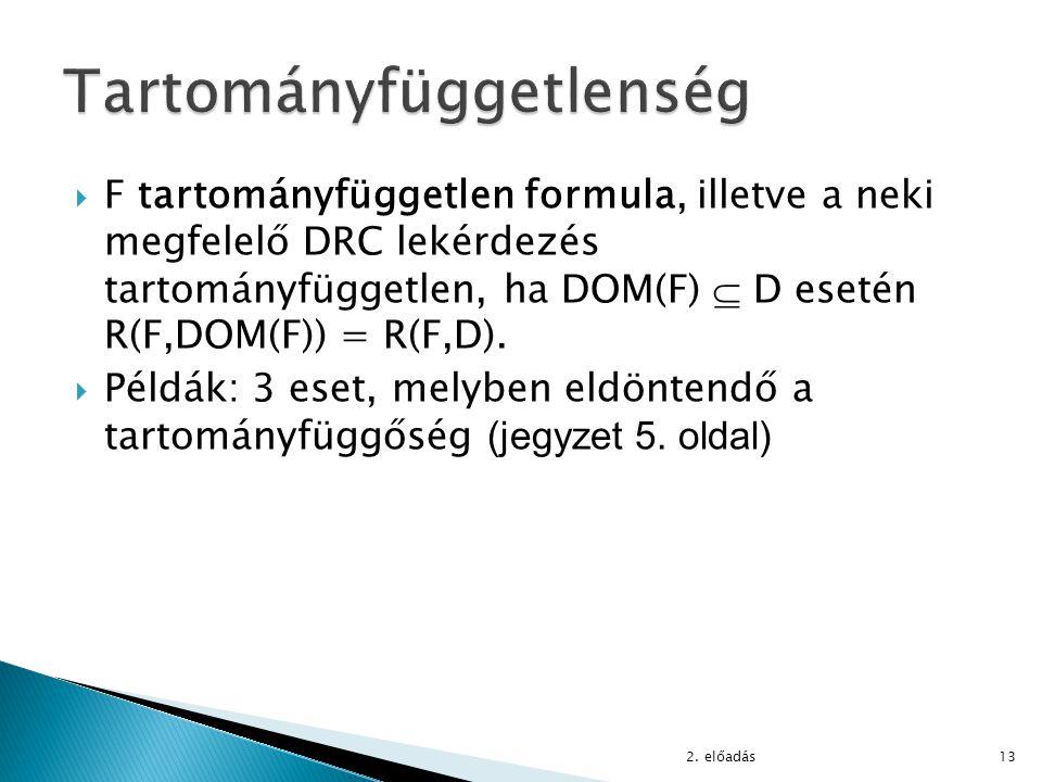  F tartományfüggetlen formula, illetve a neki megfelelő DRC lekérdezés tartományfüggetlen, ha DOM(F)  D esetén R(F,DOM(F)) = R(F,D).  Példák: 3 ese