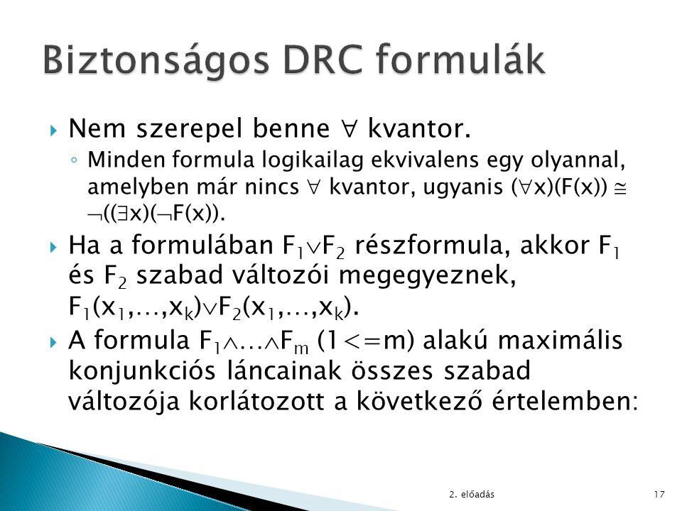  Nem szerepel benne  kvantor. ◦ Minden formula logikailag ekvivalens egy olyannal, amelyben már nincs  kvantor, ugyanis (  x)(F(x))   ((  x)( 