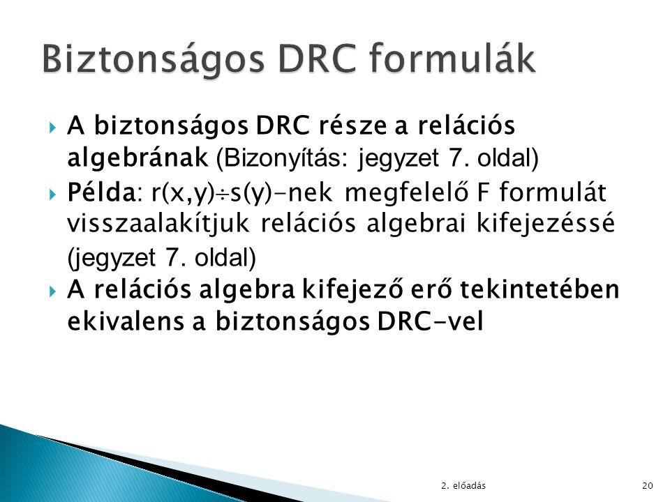  A biztonságos DRC része a relációs algebrának (Bizonyítás: jegyzet 7. oldal)  Példa: r(x,y)  s(y)-nek megfelelő F formulát visszaalakítjuk reláció