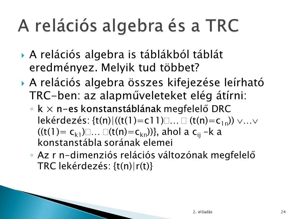  A relációs algebra is táblákból táblát eredményez. Melyik tud többet?  A relációs algebra összes kifejezése leírható TRC-ben: az alapműveleteket el