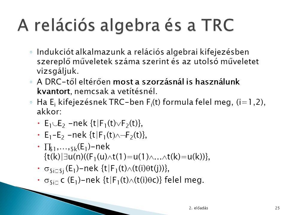 ◦ Indukciót alkalmazunk a relációs algebrai kifejezésben szereplő műveletek száma szerint és az utolsó műveletet vizsgáljuk. ◦ A DRC-től eltérően most