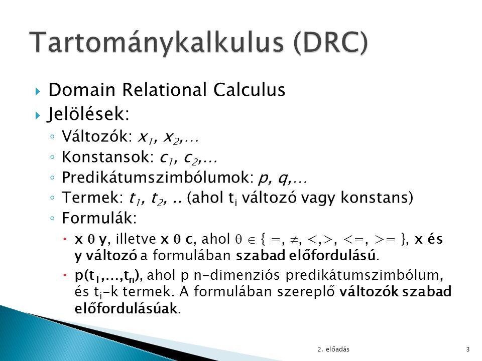  Domain Relational Calculus  Jelölések: ◦ Változók: x 1, x 2,… ◦ Konstansok: c 1, c 2,… ◦ Predikátumszimbólumok: p, q,… ◦ Termek: t 1, t 2,.. (ahol