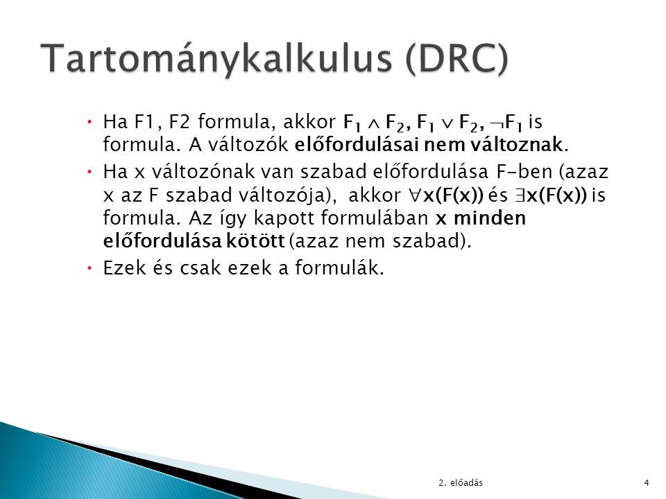  Olyan formulaosztályt keresünk, amely ◦ tartományfüggetlen formulákból áll, ◦ algoritmikusan eldönthető, hogy egy formula benne van-e az osztályban vagy nem, ◦ a relációs algebrai kifejezések felírhatók az osztályhoz tartozó formulákat használó DRC lekérdezésekkel.