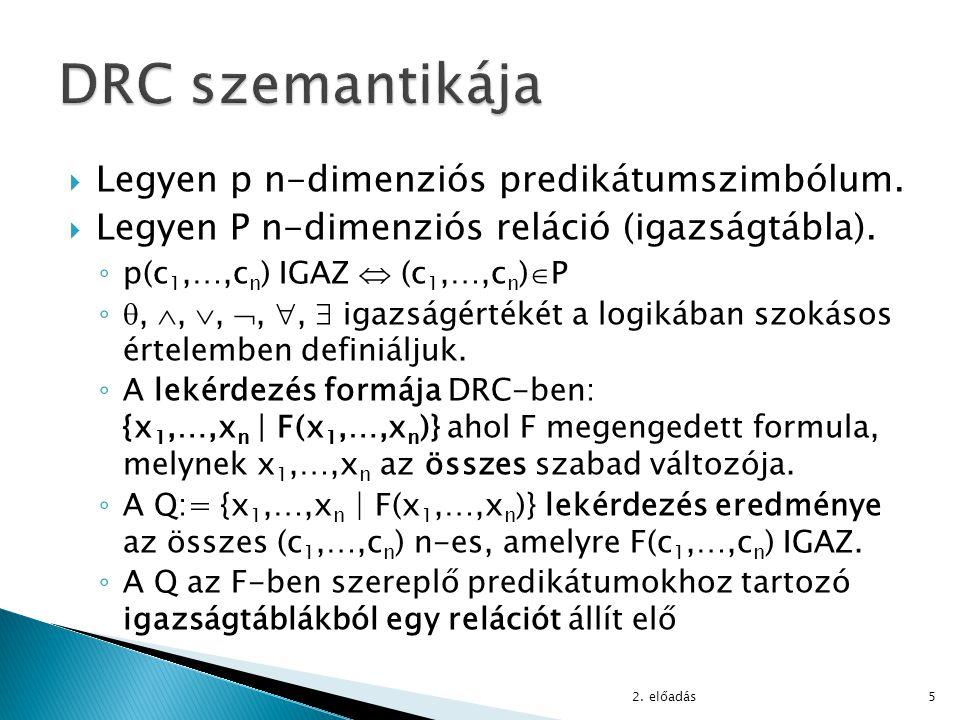  Legyen p n-dimenziós predikátumszimbólum.  Legyen P n-dimenziós reláció (igazságtábla). ◦ p(c 1,…,c n ) IGAZ  (c 1,…,c n )  P ◦, , , , ,  i