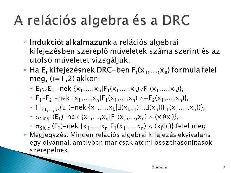 ◦ Ha E 1 -nek DRC-ben F 1 (x 1,…,x n ), E 2 -nek F 2 (y 1,…,y m ) felel meg, akkor E 1  E 2 -nek {x 1,…,x n,y 1,…,y m |F 1 (x 1,…,x n )  F 2 (y 1,…,y m )} felel meg ◦ Példa: r(x,y)  s(y) felírása (jegyzet 3.