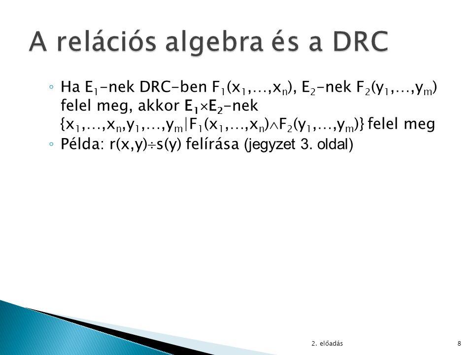 ◦ Ha E 1 -nek DRC-ben F 1 (x 1,…,x n ), E 2 -nek F 2 (y 1,…,y m ) felel meg, akkor E 1  E 2 -nek {x 1,…,x n,y 1,…,y m |F 1 (x 1,…,x n )  F 2 (y 1,…,