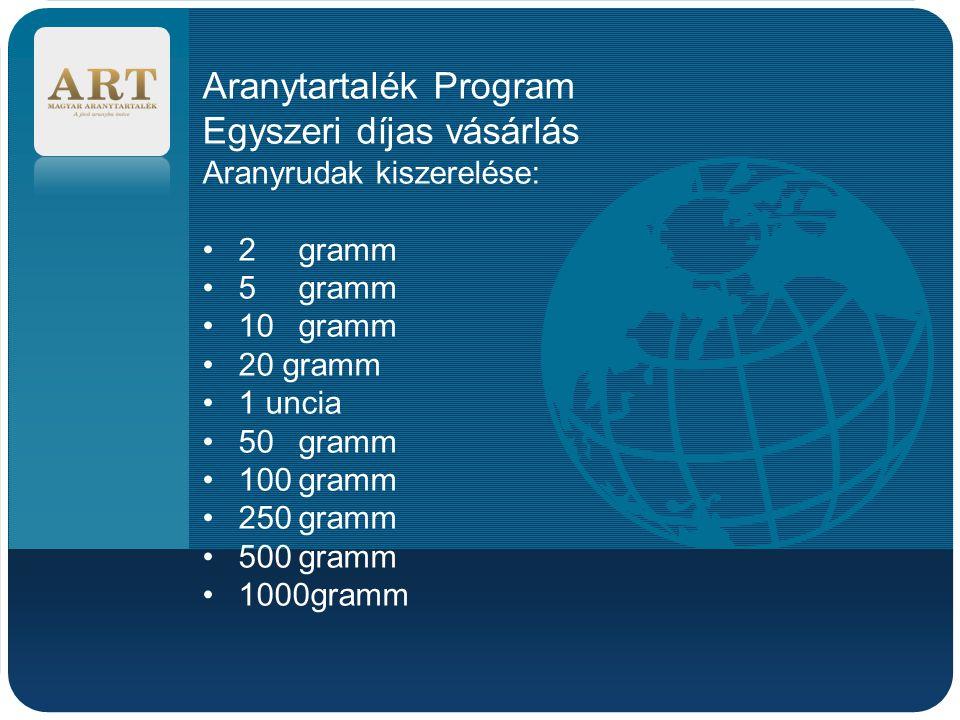 Company LOGO Aranytartalék Program Egyszeri díjas vásárlás Aranyrudak kiszerelése: 2gramm 5 gramm 10gramm 20 gramm 1 uncia 50gramm 100gramm 250gramm 5