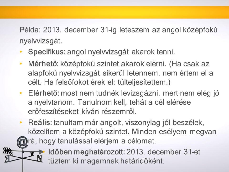 Példa: 2013.december 31-ig leteszem az angol középfokú nyelvvizsgát.
