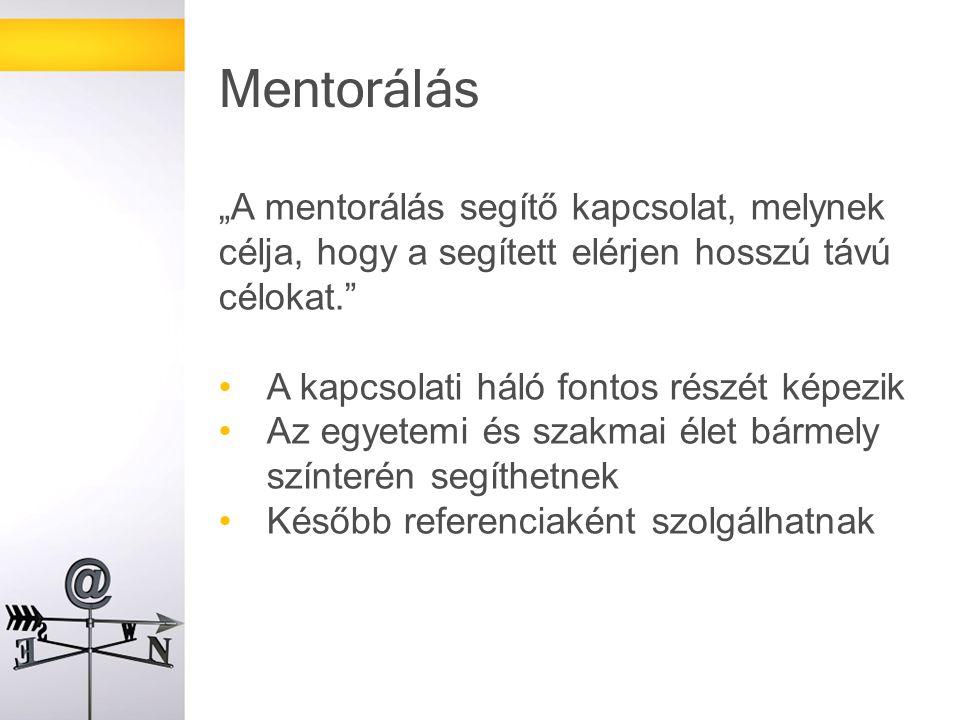 """""""A mentorálás segítő kapcsolat, melynek célja, hogy a segített elérjen hosszú távú célokat. A kapcsolati háló fontos részét képezik Az egyetemi és szakmai élet bármely színterén segíthetnek Később referenciaként szolgálhatnak Mentorálás"""