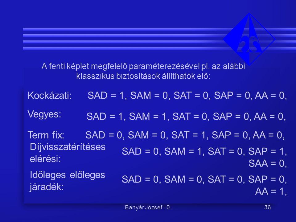 Banyár József 10.36 A fenti képlet megfelelő paraméterezésével pl. az alábbi klasszikus biztosítások állíthatók elő: Kockázati:SAD = 1, SAM = 0, SAT =