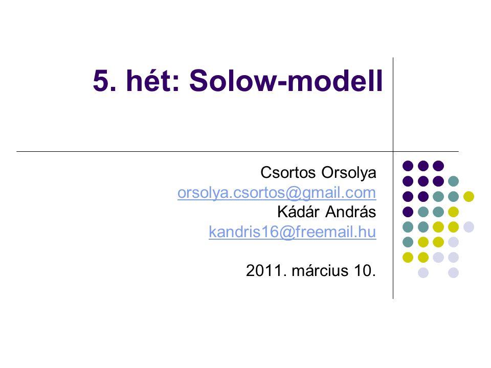 5. hét: Solow-modell Csortos Orsolya orsolya.csortos@gmail.com Kádár András kandris16@freemail.hu 2011. március 10.