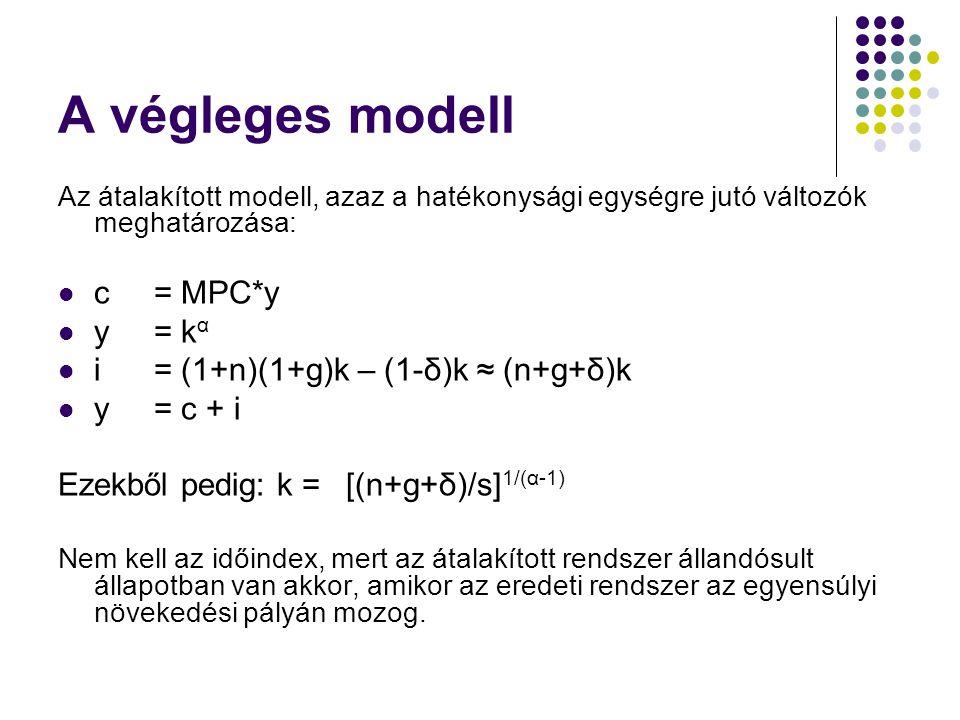A végleges modell Az átalakított modell, azaz a hatékonysági egységre jutó változók meghatározása: c = MPC*y y = k α i = (1+n)(1+g)k – (1-δ)k ≈ (n+g+δ