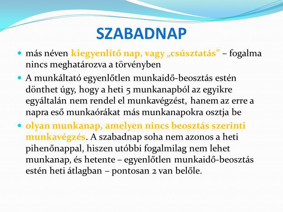 """SZABADNAP más néven kiegyenlítő nap, vagy """"csúsztatás"""" – fogalma nincs meghatározva a törvényben A munkáltató egyenlőtlen munkaidő-beosztás estén dönt"""