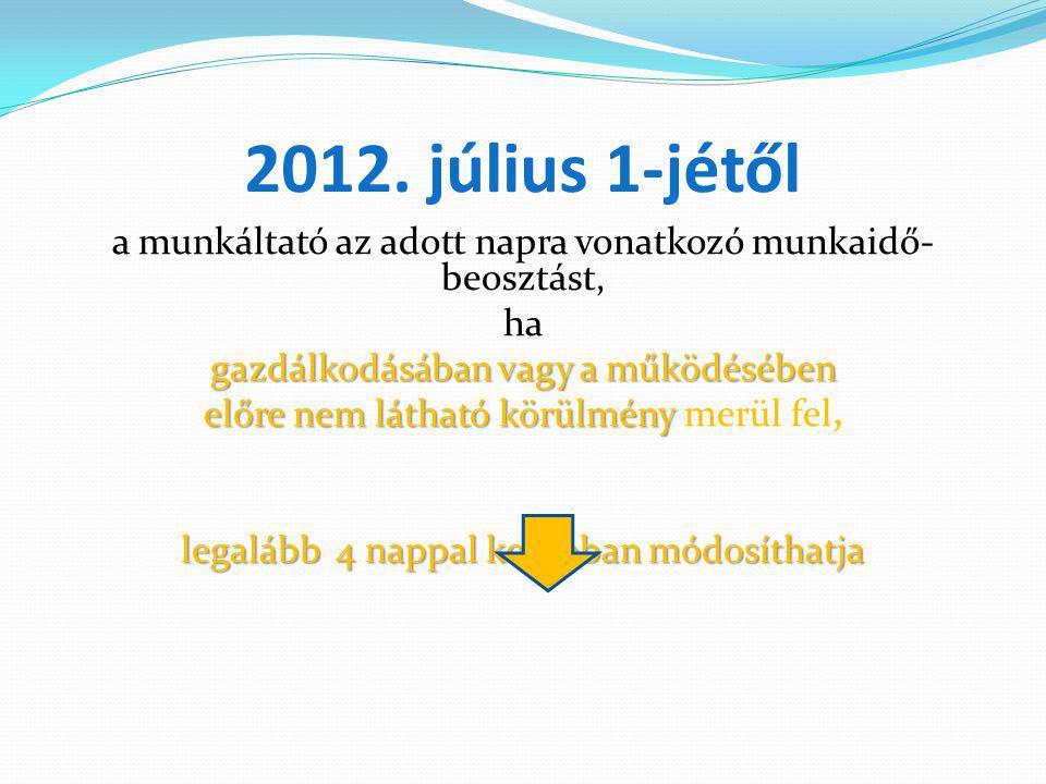 2012. július 1-jétől a munkáltató az adott napra vonatkozó munkaidő- beosztást, ha gazdálkodásában vagy a működésében előre nem látható körülmény előr