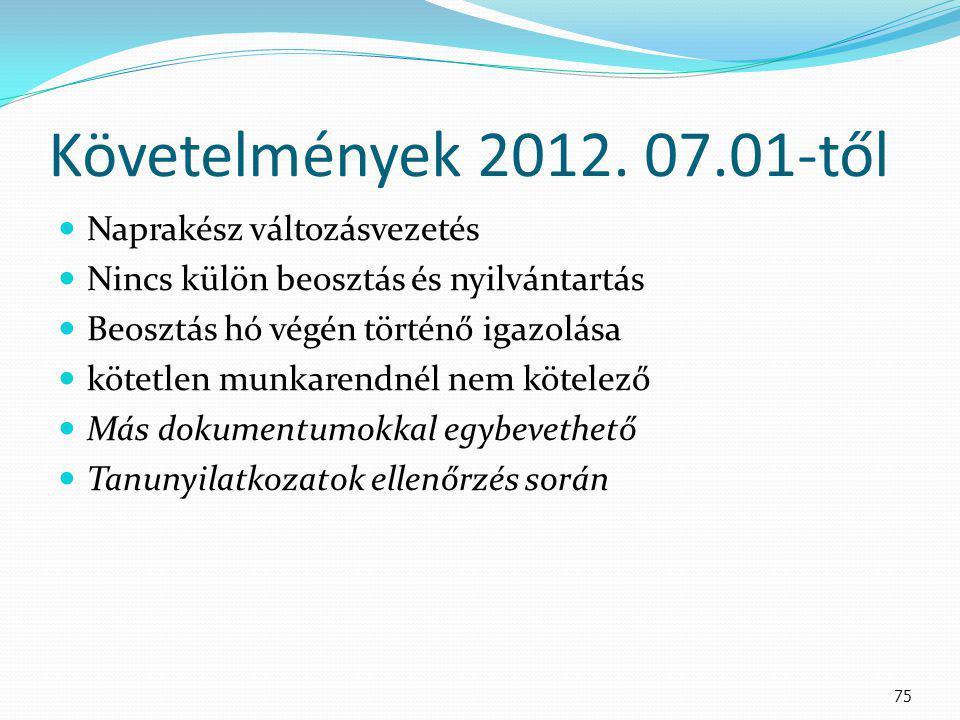 Követelmények 2012. 07.01-től Naprakész változásvezetés Nincs külön beosztás és nyilvántartás Beosztás hó végén történő igazolása kötetlen munkarendné