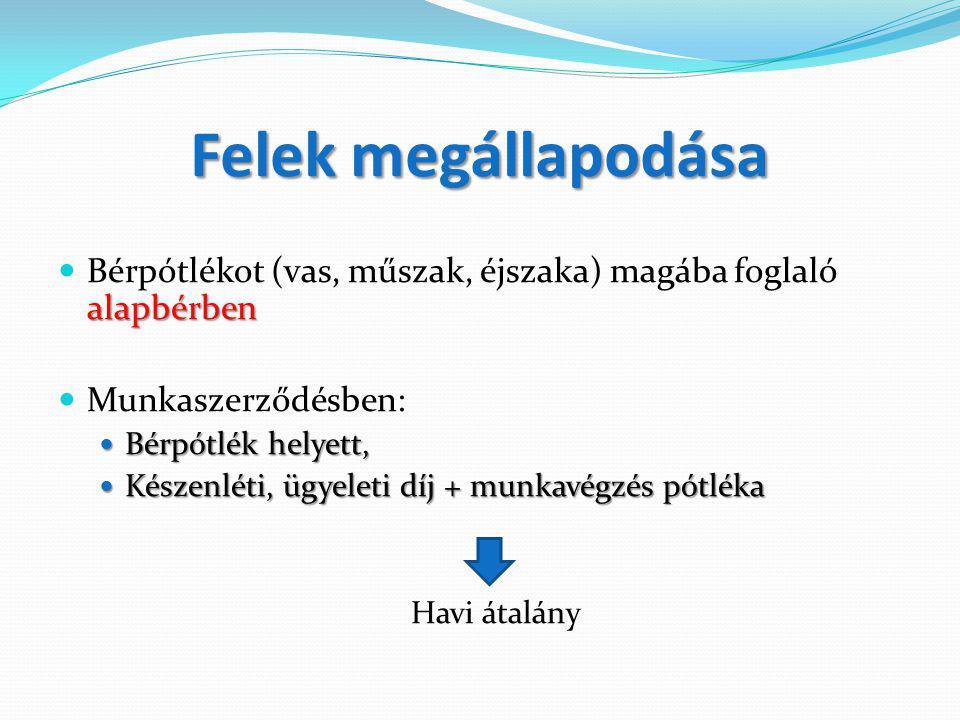 Felek megállapodása alapbérben Bérpótlékot (vas, műszak, éjszaka) magába foglaló alapbérben Munkaszerződésben: Bérpótlék helyett, Bérpótlék helyett, K