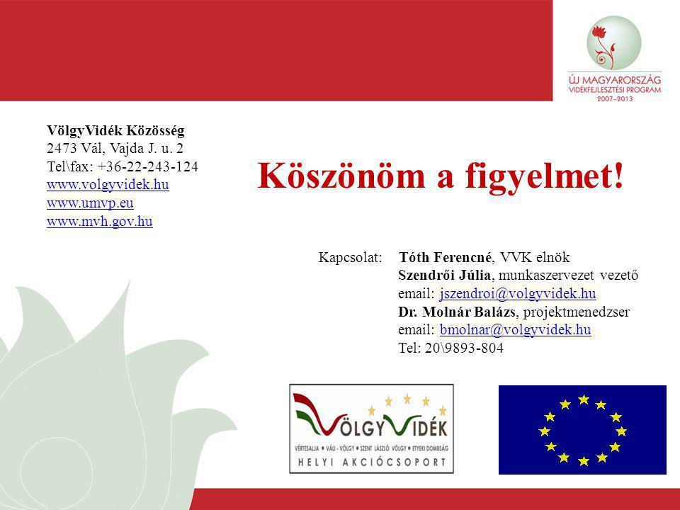 Köszönöm a figyelmet! VölgyVidék Közösség 2473 Vál, Vajda J. u. 2 Tel\fax: +36-22-243-124 www.volgyvidek.hu www.umvp.eu www.mvh.gov.hu Kapcsolat: Tóth