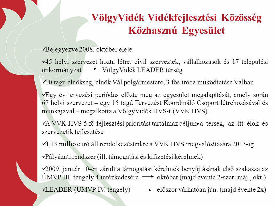 Bejegyezve 2008. október eleje 45 helyi szervezet hozta létre: civil szerveztek, vállalkozások és 17 települési önkormányzat VölgyVidék LEADER térség