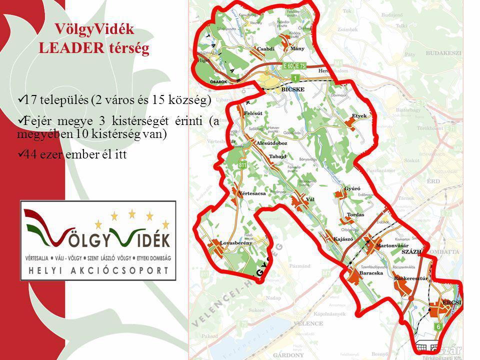 17 település (2 város és 15 község) Fejér megye 3 kistérségét érinti (a megyében 10 kistérség van) 44 ezer ember él itt VölgyVidék LEADER térség