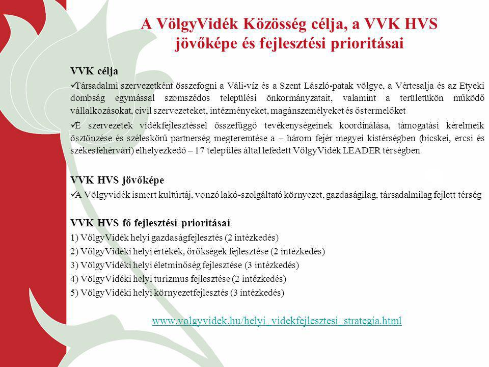 A VölgyVidék Közösség célja, a VVK HVS jövőképe és fejlesztési prioritásai VVK célja Társadalmi szervezetként összefogni a Váli-víz és a Szent László-patak völgye, a Vértesalja és az Etyeki dombság egymással szomszédos települési önkormányzatait, valamint a területükön működő vállalkozásokat, civil szervezeteket, intézményeket, magánszemélyeket és őstermelőket E szervezetek vidékfejlesztéssel összefüggő tevékenységeinek koordinálása, támogatási kérelmeik ösztönzése és széleskörű partnerség megteremtése a – három fejér megyei kistérségben (bicskei, ercsi és székesfehérvári) elhelyezkedő – 17 település által lefedett VölgyVidék LEADER térségben VVK HVS jövőképe A Völgyvidék ismert kultúrtáj, vonzó lakó-szolgáltató környezet, gazdaságilag, társadalmilag fejlett térség VVK HVS fő fejlesztési prioritásai 1) VölgyVidék helyi gazdaságfejlesztés (2 intézkedés) 2) VölgyVidéki helyi értékek, örökségek fejlesztése (2 intézkedés) 3) VölgyVidéki helyi életminőség fejlesztése (3 intézkedés) 4) VölgyVidéki helyi turizmus fejlesztése (2 intézkedés) 5) VölgyVidéki helyi környezetfejlesztés (3 intézkedés) www.volgyvidek.hu/helyi_videkfejlesztesi_strategia.html