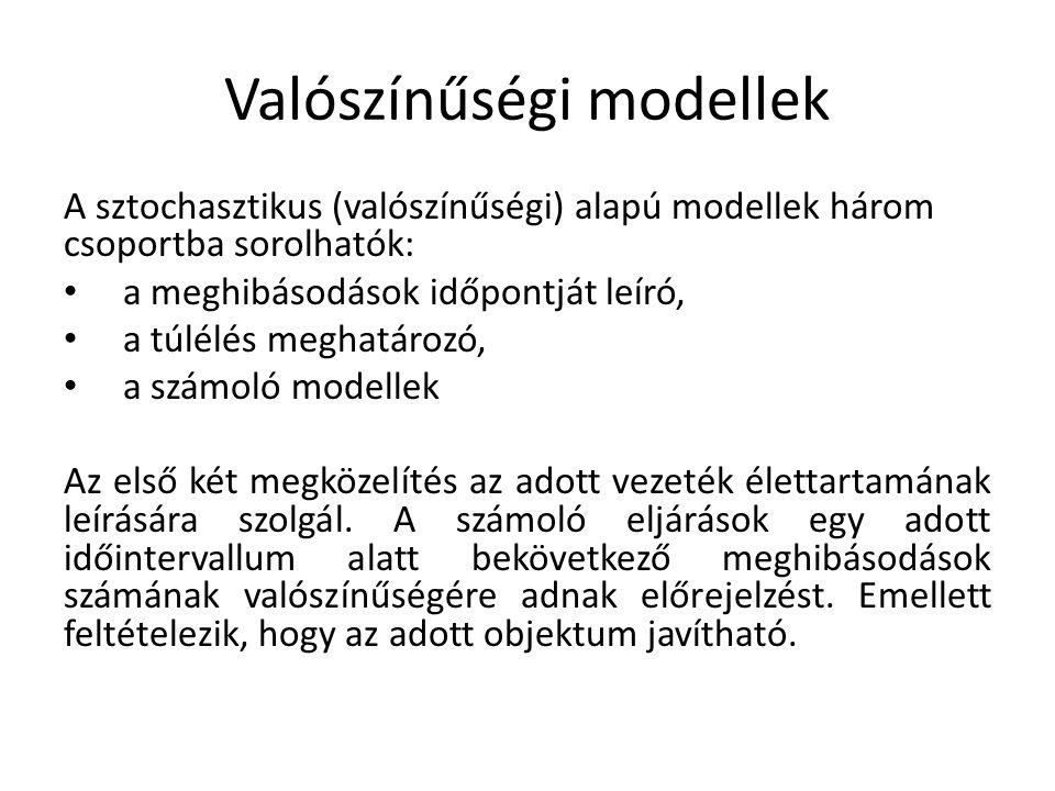 Valószínűségi modellek A sztochasztikus (valószínűségi) alapú modellek három csoportba sorolhatók: a meghibásodások időpontját leíró, a túlélés meghat