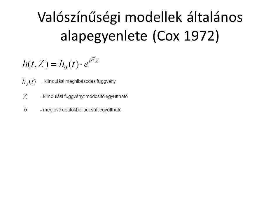 Valószínűségi modellek általános alapegyenlete (Cox 1972) - kiindulási meghibásodás függvény - kiindulási függvényt módosító együttható - meglévő adat