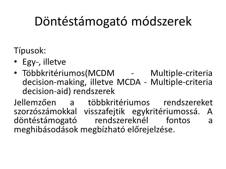 Döntéstámogató módszerek Típusok: Egy-, illetve Többkritériumos(MCDM - Multiple-criteria decision-making, illetve MCDA - Multiple-criteria decision-ai