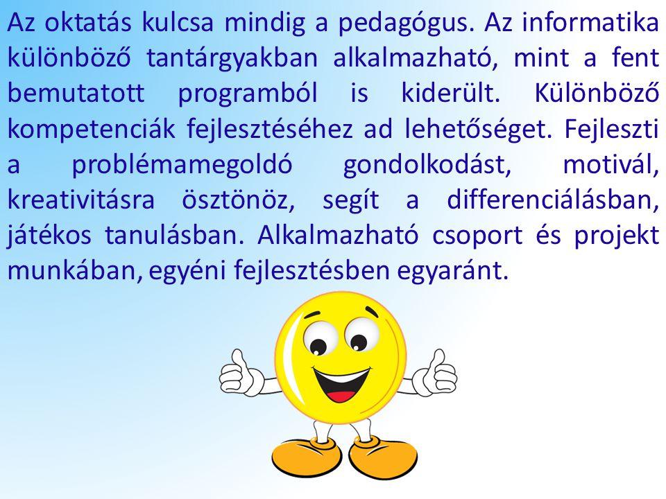 Az oktatás kulcsa mindig a pedagógus. Az informatika különböző tantárgyakban alkalmazható, mint a fent bemutatott programból is kiderült. Különböző ko