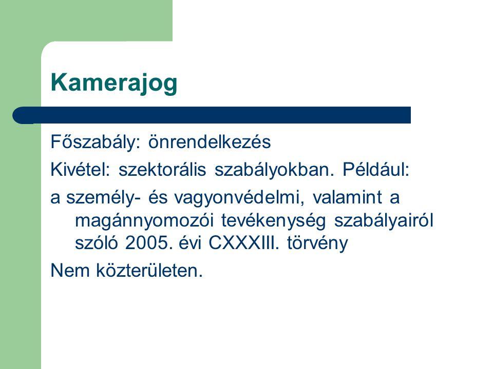 Kamerajog Főszabály: önrendelkezés Kivétel: szektorális szabályokban. Például: a személy- és vagyonvédelmi, valamint a magánnyomozói tevékenység szabá