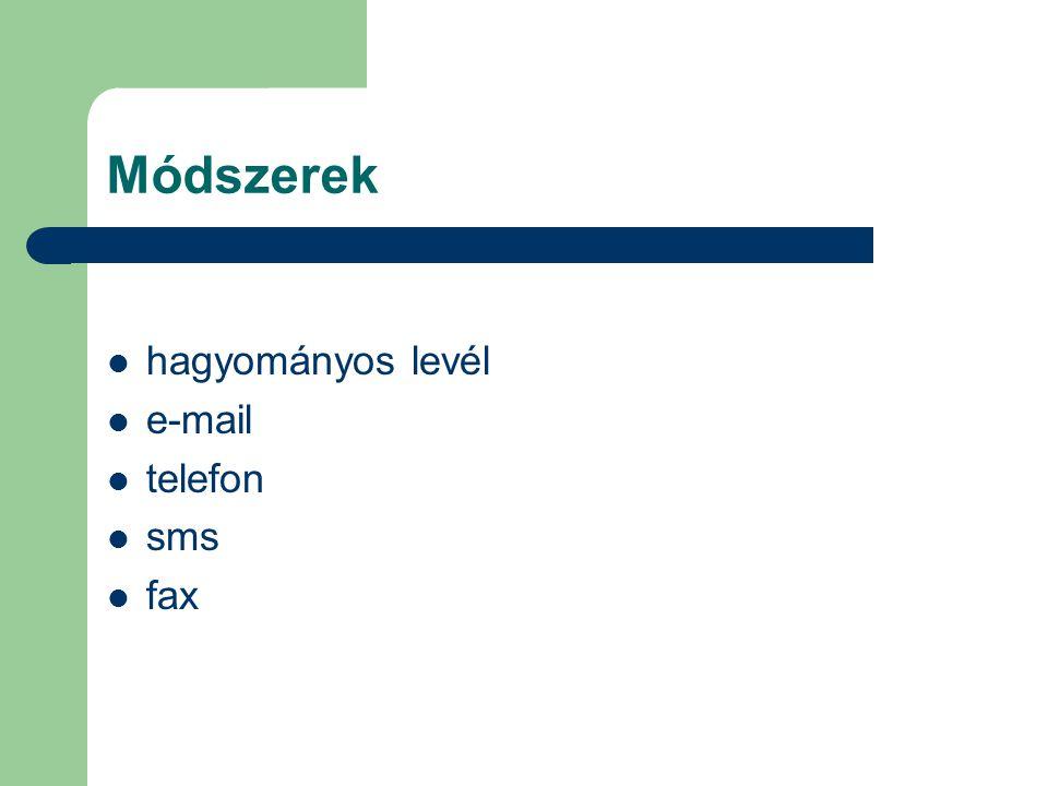 Módszerek hagyományos levél e-mail telefon sms fax