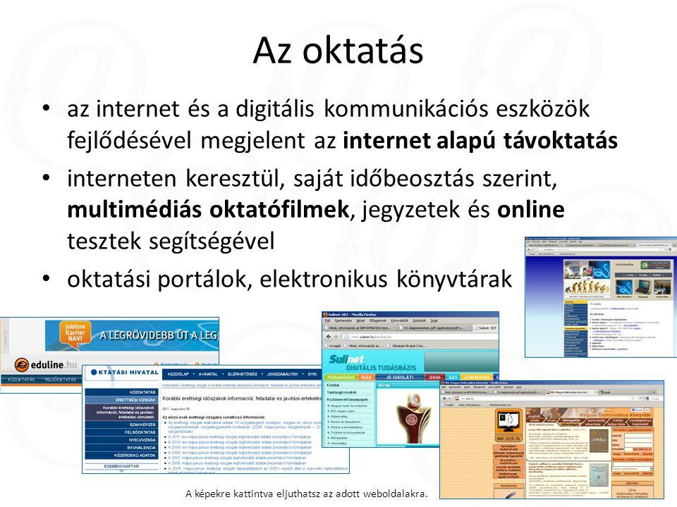 Az oktatás az internet és a digitális kommunikációs eszközök fejlődésével megjelent az internet alapú távoktatás interneten keresztül, saját időbeosztás szerint, multimédiás oktatófilmek, jegyzetek és online tesztek segítségével oktatási portálok, elektronikus könyvtárak A képekre kattintva eljuthatsz az adott weboldalakra.