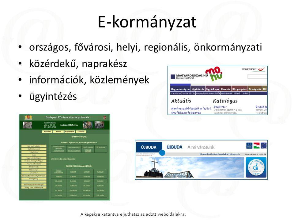 E-kormányzat országos, fővárosi, helyi, regionális, önkormányzati közérdekű, naprakész információk, közlemények ügyintézés A képekre kattintva eljuthatsz az adott weboldalakra.