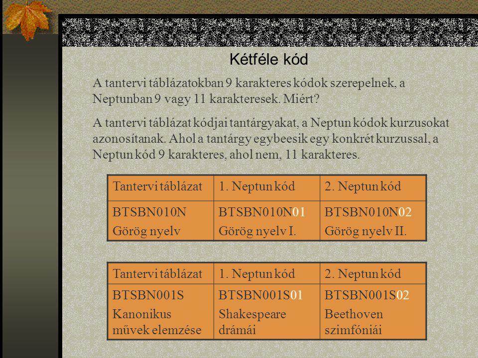 Kétféle kód A tantervi táblázatokban 9 karakteres kódok szerepelnek, a Neptunban 9 vagy 11 karakteresek. Miért? A tantervi táblázat kódjai tantárgyaka